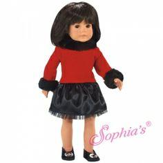 Red Sweater w/ Black Fur Trim & Black Skirt