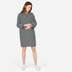 A gamine staple. We updated a classic Breton striped tee dress in a heavier, drier cotton that provides extra structure. Plus, we added a few unexpected details—like dropped shoulders and a zipper at the shoulder.