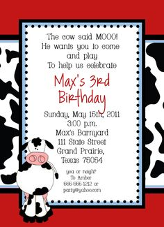 Cow Farm Birthday Party Invitation - Custom DIY.