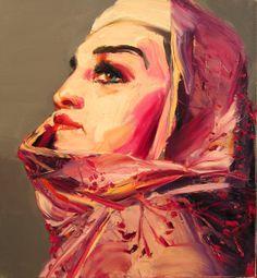 "Blue Contemporary #Artist: Georgi Andonov ""Dames Series I"" 25 x 23 in, Oil on canvas £3,000.00  #contemporary #art #FigurativeArt #woman #veil"