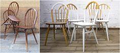 Un conjunto de seis sillas Francesas de 1960. Madera restaurada de Haya y Fresno, pintadas en #DipDye inverso #BeforeandAlis