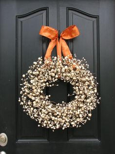 Fall Wreath for Front Door Decor...switch out the ribbon for Xmas?
