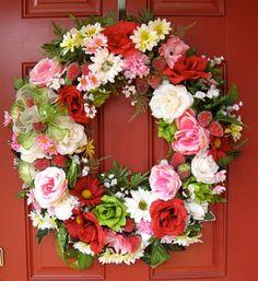 Strawberry Shortcake Summer Garden Wreath by IrishGirlsWreaths