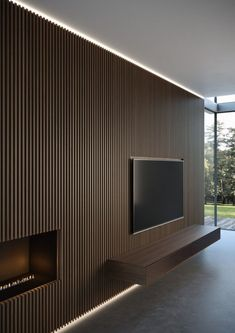 New wall paneling from Moderne Living reinvents the very concept of wall cladding, in a more amplified and contemporary way. 1 Bedroom Apartment, Apartment Interior, Wood Slat Wall, Living Room Tv Unit Designs, Tv Wall Decor, Tv Wall Design, Small Apartments, Small Spaces, Home Living Room