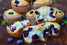 Bakery-Style Lemon Blueberry Muffins chock-full of blueberries. Muffin Recipes, My Recipes, Baking Recipes, Scone Recipes, Breakfast Recipes, Lemon Blueberry Muffins, Blue Berry Muffins, Coffee Dessert, Coffee Cake
