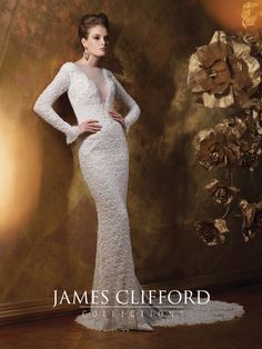 James Clifford Collection - J21505 - Allover hand-beaded lace and tulle over charmeuse slim A-line wedding dress with long sleeves with scalloped cuffs, illusion bateau neckline with beaded trim and deep plunging bodice, low scoop back bodice, scalloped hem with chapel length train.Sizes: 2 – 20Colors: Ivory/Antique Gold