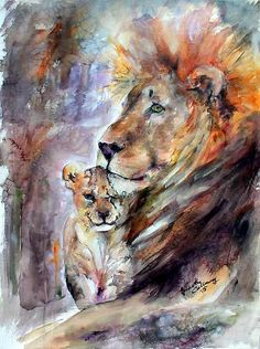 Cecil the Lion No More Original Watercolor & Ink 30 by 22 inch , Original Painting - Ginette Fine Art, The Art of Ginette Callaway - 1