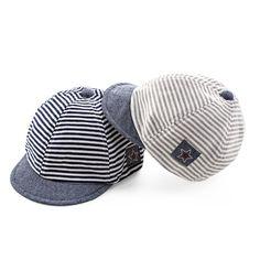 여름 편안한 유아 모자 귀여운 캐주얼 스트라이프 부드러운 처마 야구 모자 아기 소년 베레모 여자 아기 태양 모자
