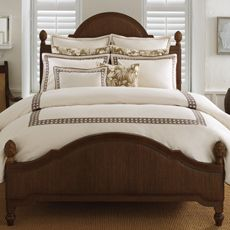 Tommy Bahama Embroidered Cane Duvet Cover, 100% Cotton - Coconut Brown (master bedroom)