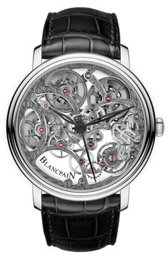 I'm in love with Bancpain 2012: In an intriguing move, Blancpain has created a traditionally baroque open-worked or skeletonized movement and added a decisive contemporary touch in the titanium balance. This balance is highly visible in the 4 o'clock position. As with most skeletonized watches, there is an oddly ethereal feeling to the entire piece, with sections of the watch being entirely see-through.
