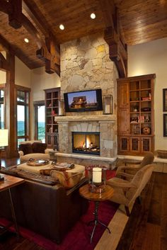 46 Stunning Rustic Living Room Design Ideas - March 16 2019 at House Design, Farm House Living Room, Home, Home Fireplace, Home Inc, Fireplace Design, Rustic Living Room Design, Rustic Family Room, Rustic House