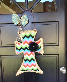 I need this!!! Cross Door Hanger in Multicolored Chevron and by WildBDesigns, $40.00