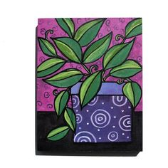 Potted Plant Painting - Pothos Plant - Green and Purple Still Life - Bright Colors - Original Art by Pothos Plant, Potted Plants, Handmade Stamps, Plant Painting, Paint Markers, Mark Making, Acrylic Colors, Circle Design, Green And Purple