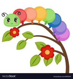 Funny colorful caterpillar vector image on VectorStock School Painting, Painting For Kids, Easy Drawings For Kids, Drawing For Kids, Diy For Kids, Crafts For Kids, Kids Canvas Art, Diy And Crafts, Paper Crafts
