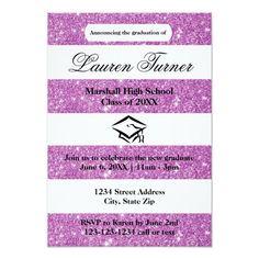 Faux Purple Glitter Stripe-3x5 Grad Announcement Customizable Invitations #beach #summer #wedding #invitation