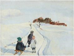 """""""Winter day in the country with children playing with a toboggan."""" by Eiler Sörensen"""