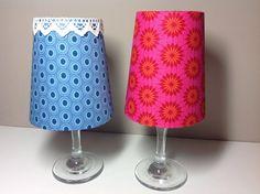Doe meer met stof: lampenkapje op een wijnglas met waxinelichtje #sfeervol!