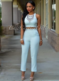 Chic Couture Online - Zumi Powder Blue Two Piece Pants Set, (http://www.chiccoutureonline.com/zumi-powder-blue-two-piece-pants-set/)