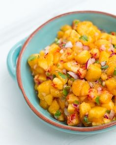 This fresh peach salsa is perfect for summer; serve with chips, fish, black beans, or tacos.