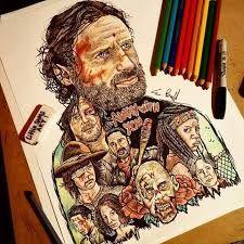 The Walking Dead by Sam Brunell Arte Horror, Horror Art, Art Sketches, Art Drawings, Avengers Drawings, Harry Potter Drawings, Toy Story Buzz, Graffiti, Girl Meets World
