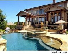 very nice backyard / pool in Austin Texas (Love the swimming pool! Wow great design, color)