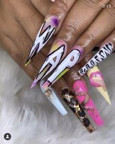 Acrylic Nail Designs Coffin, Bling Acrylic Nails, Summer Acrylic Nails, Best Acrylic Nails, Rhinestone Nails, Stiletto Nails, Summer Nails, Grunge Nails, Swag Nails