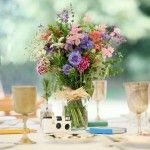 Simply centre piece - wild flowers in glass jar