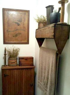 Cozy Little House: Unusual DIY Shelves. ~ Great in a bathroom, but I'd hang vintage tablecloths or dish towels in my kitchen. Primitive Homes, Primitive Bedroom, Primitive Bathrooms, Primitive Kitchen, Primitive Furniture, Country Primitive, Primitive Antiques, Primitive Shelves, Country Decor