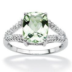 Platinum/Silver Green Amethyst/Diamond Accent Ring Size: 6 Platinum Diamond Ring