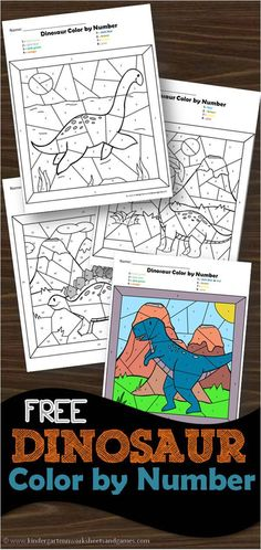 FREE Dinosaur Color by Number - super cute free printable kindergarten worksheets for practicing numbers and numbers with a favorite dinosaur theme activity for preschoolers and kindergartners dinosaur colorbynumber kindergarten 234679830569799526 Dinosaur Theme Preschool, Dinosaur Printables, Dinosaur Crafts, Dinosaur Worksheets, Dinosaur Dinosaur, Kindergarten Colors, Free Kindergarten Worksheets, Free Preschool, Math Worksheets