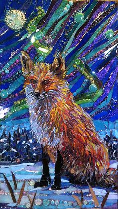 Mosaic by Grandmother Moon Mosaics Fox and the Aurora Borealis 20 x 36 inches