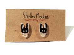 Unique stud earrings black and white rabbit masked by ShellaMakes