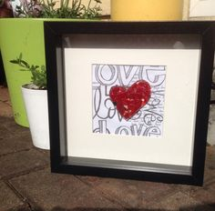 Patchwork fused glass heart box frame - S.Walsh, Sarah & Mart's Art April 2014