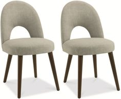 Bentley Designs Oslo Walnut Dining Chair - Linen Fabric Upholstered (Pair)