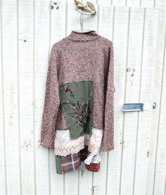 Funky Upcycled Sweater jacket dress / artsy wearable art dress by CreoleSha