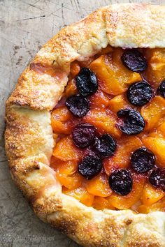 Apricot Cherry Galette ~ Beautiful apricot cherry rustic tart, lightly flavored with vanilla and lemon zest, easy tender flaky crust! ~ SimplyRecipes.com
