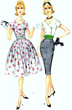 1960s BEAUTIFUL Slim or Full Skirt Dress Pattern McCALLS 5671 Flattering Double Breasted Bodice, Cummerbund Belt Bust 34 Vintage Sewing Pattern UNCUT