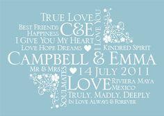 Personalised Wedding Typography Word Art