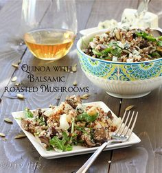 Quinoa with Balsamic Roasted Mushrooms and Pears  @livlifetoo #quinoa