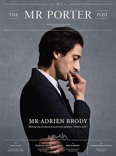 "Adrien Brody stars newest cover Mr. Porter:""The Men's Style Destination""Shot by Blair Getz Mezibov."