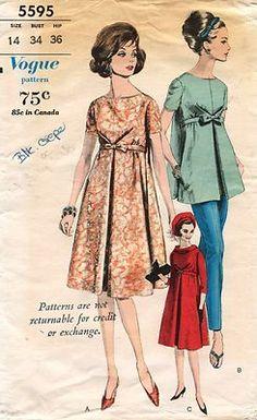 1960's VTG VOGUE Maternity Dress,BlousePants Pattern 5595 14