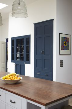 """Paint Color of built in pantry and hutch is Mylands """"Bond Street Shaker Style Kitchens, Shaker Kitchen, Light Blue Houses, Industrial Style Lighting, Shaker Furniture, High End Kitchens, Corner Cupboard, Kitchen Cupboards, Kitchen Stove"""