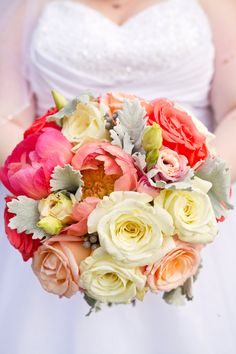 Bridal Bouquet with Coral, Whites and Grey: Peonies, Roses, Dusty Miller, etc