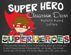 This purchase includes letter printables which will allow you to spell… Classroom Decor Themes, Classroom Crafts, Music Classroom, Superhero School Theme, School Themes, Banner Letters, Class Decoration, Elementary Music, First Day Of School