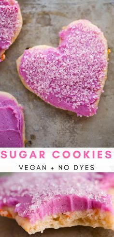 Perfect for Valentine's Day, these buttery vegan sugar cookies with speckled whole food bits, and a naturally pink cashew-coconut frosting on top.