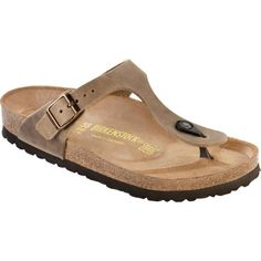 Birkenstock Women's Gizeh Tabacco Brown Oiled Leather Thongs &... (64375 SYP) ❤ liked on Polyvore featuring shoes, sandals, flip flops, leather shoes, arch support flip flops, leather sandals, birkenstock shoes and leather thong sandals
