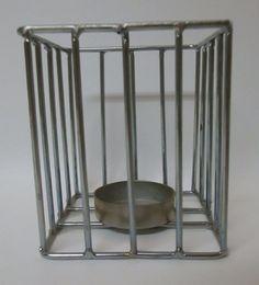 Silver Tone Metal Cage Tea Light Candle Holder Tabletop Mantle Decor Modern #Unbranded