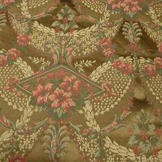 Elaborate Victorian Empire Floral Wreath Swag Golden Bronze Brocade Upholstery Drapery Bedding Fabric, $32.00