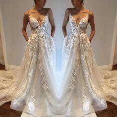 V-neck Backless Spaghetti Straps Lace Beach Wedding Dress,Bridal Dress