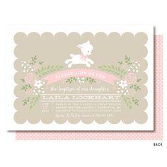 Lamb Baptism Invitation, Pink Girls Little Lamb Christening Invitation, Printed or Printable